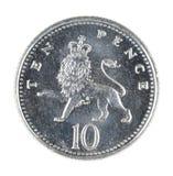 Pièce de monnaie de penny des Anglais Dix d'isolement sur le blanc Photo libre de droits