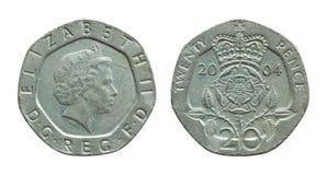 Pièce de monnaie de penny des Anglais vingt d'isolement sur le blanc Images stock
