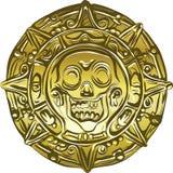 Pièce de monnaie de pirate d'argent d'or avec un crâne illustration stock