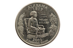Pièce de monnaie de quart d'état de l'Alabama photographie stock libre de droits