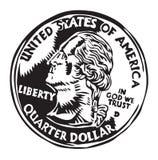 Pièce de monnaie de quart de dollar Photos stock