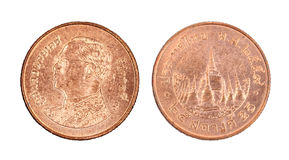 Pièce de monnaie de satang de la Thaïlande 25, 2016 d'isolement Photo stock