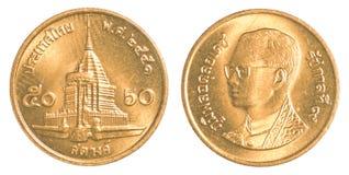 pièce de monnaie de satang du baht 50 thaïlandais Images stock