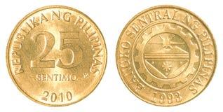 Pièce de monnaie de sentimo de 25 Philippine Images libres de droits