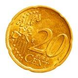 Pièce de monnaie de vingt euro cents Photos libres de droits