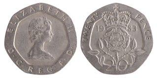 Pièce de monnaie de vingt penny Photographie stock libre de droits