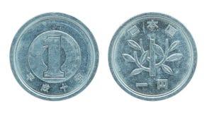 1 pièce de monnaie de Yens japonais d'isolement sur le blanc Photographie stock