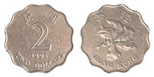 Pièce de monnaie des 2 dollars de Hong Kong Photos stock