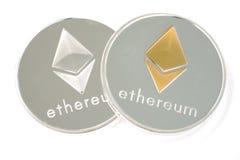 Pièce de monnaie deux d'Ethereum argenté d'isolement sur le fond blanc Photographie stock libre de droits