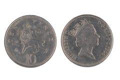 Pièce de monnaie de Dix penny Images libres de droits