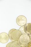 Pièce de monnaie du baht deux thaïlandais sur la droite inférieure Images stock