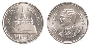 pièce de monnaie du baht 2 thaïlandais Photographie stock