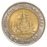 pièce de monnaie du baht 10 thaïlandais Photo libre de droits