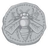 Pièce de monnaie d'abeille de miel Images libres de droits