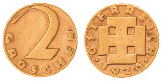 2 pièce de monnaie du groschen 1926 d'isolement sur le fond blanc, Autriche Image stock