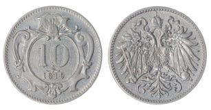 10 pièce de monnaie du heller 1910 d'isolement sur le fond blanc, Austro-Hungari Image libre de droits