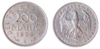 200 pièce de monnaie du mark 1923 d'isolement sur le fond blanc, Allemagne Photos libres de droits