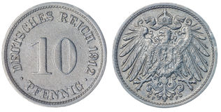 10 pièce de monnaie du penny 1912 d'isolement sur le fond blanc, Allemagne Photos libres de droits