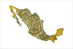 Pièce de monnaie 1998 du peso Dix mexicain dans la forme du Mexique photographie stock