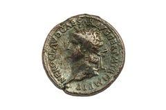 Pièce de monnaie en bronze de Roman Sestertius de l'empereur romain Nero photo stock