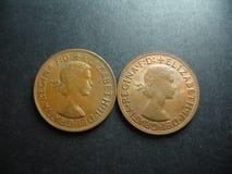 Pièce de monnaie en cuivre de penny de l'Australien un de vintage Images libres de droits