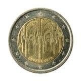 pièce de monnaie Espagne de l'euro 2 d'isolement sur le fond blanc photos libres de droits