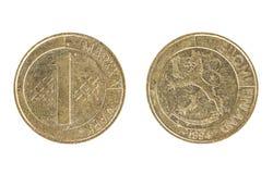 Pièce de monnaie finlandaise, la valeur nominale de 1 mark finlandais Images stock