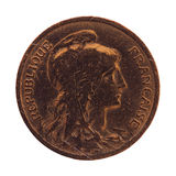 Pièce de monnaie française antique 10 cents d'isolement au-dessus du blanc Photos stock