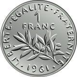 Pièce de monnaie française d'argent de vecteur une face de franc Photographie stock libre de droits
