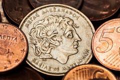 Pièce de monnaie grecque avec le portrait d'Alexandre le grand Photographie stock