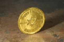 Pièce de monnaie heureuse de Chanukah Photographie stock