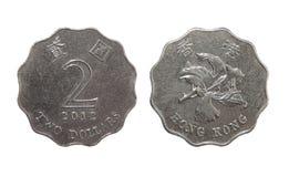 Pièce de monnaie Hong Kong des deux dollars Photos libres de droits