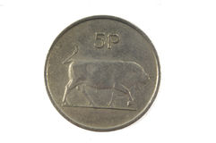 Pièce de monnaie irlandaise de 5 penny Photographie stock