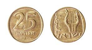Pièce de monnaie israélienne, 25 agorot, 1965 Objet d'isolement sur un fond blanc Photo stock