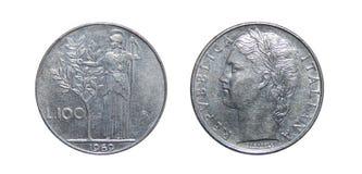 Pièce de monnaie de l'Italie 100 Lires Photographie stock