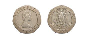 Pièce de monnaie de la Grande-Bretagne 20 penny Photo libre de droits