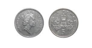 Pièce de monnaie de la Grande-Bretagne 5 penny Photos stock