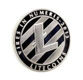 Pièce de monnaie de Lite , pièce de monnaie argentée de Lite d'isolement sur le fond blanc , agrafe images libres de droits