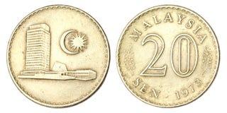Pièce de monnaie malaisienne du capteur 20 de 1973 Photographie stock libre de droits