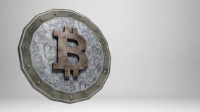 Pièce de monnaie de marbre de Bitcoin sur le fond gris Photographie stock libre de droits