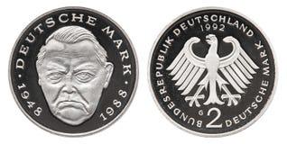 Pièce de monnaie 1992 de mark de la république Fédérale d'Allemagne 2 images stock