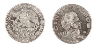 Pièce de monnaie de pesos de Cinco Images stock