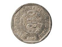 1 pièce de monnaie de Nuevo Sol Banque du Pérou Renversez, 2007 Photographie stock