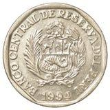 Pièce de monnaie péruvienne de 50 de nuevo centimos de solénoïde Photographie stock libre de droits