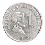 Pièce de monnaie philippine 1 de piso Images stock