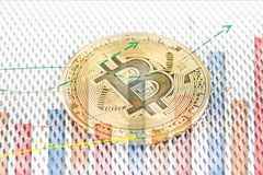 Pièce de monnaie physique de cryptocurrency de pièce d'or de Bitcoin photo stock