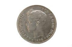 Pièce de monnaie, pièce de monnaie du 19ème siècle espagnole Images libres de droits