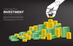Pièce de monnaie de pile de main de robot et argent de billet de banque illustration libre de droits