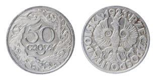 Pièce de monnaie polonaise désuète Images libres de droits