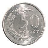Pièce de monnaie polonaise de cinquante groszy Image stock